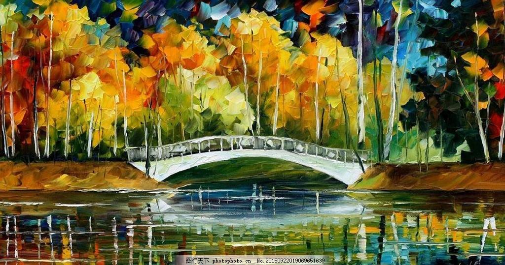 小桥湖景油画 油画风景 风景油画 抽象 田园风景 欧式油画风景