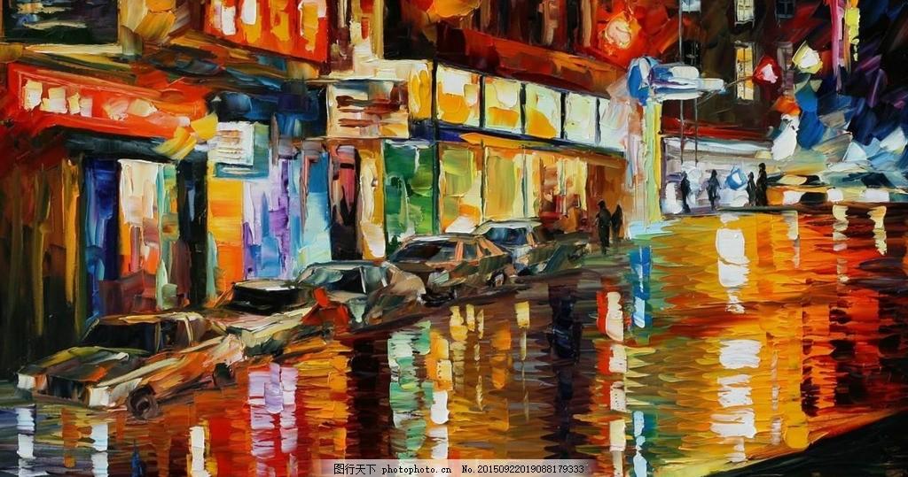 街景商铺油画 油画风景 风景油画 抽象 城市风景 欧式油画风景