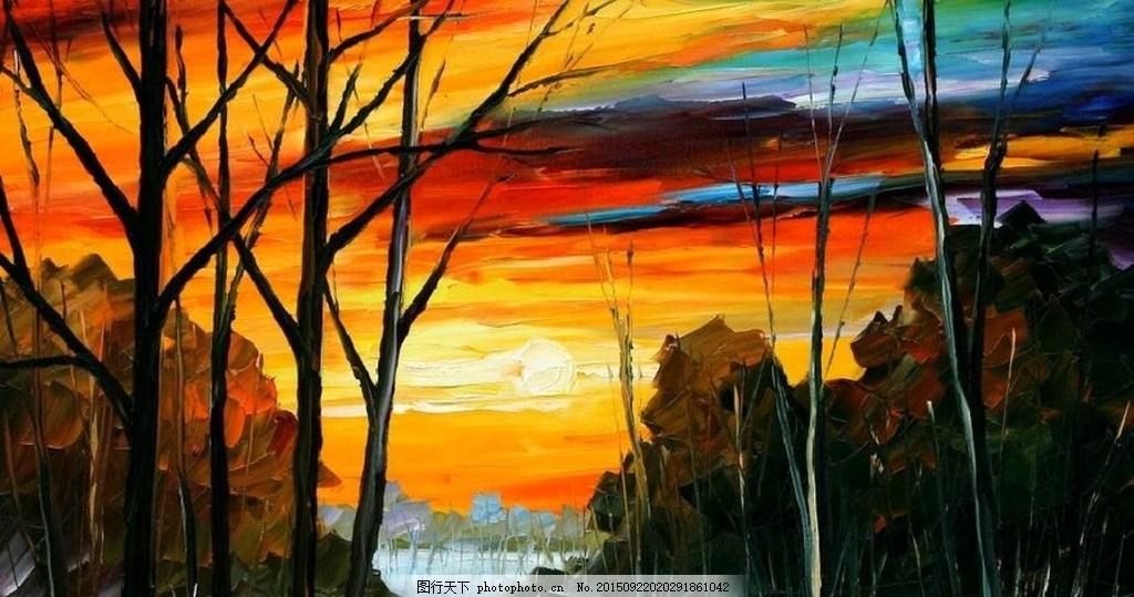 冬日风景油画 油画风景 抽象 田园风景 欧式油画风景 绘画 装饰画