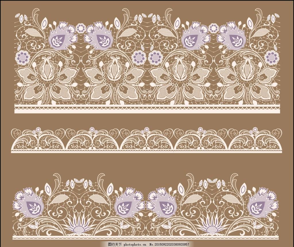 蕾丝花纹 花边 蕾丝花边花纹 白色 花朵 边框 花卉 图案 圆形