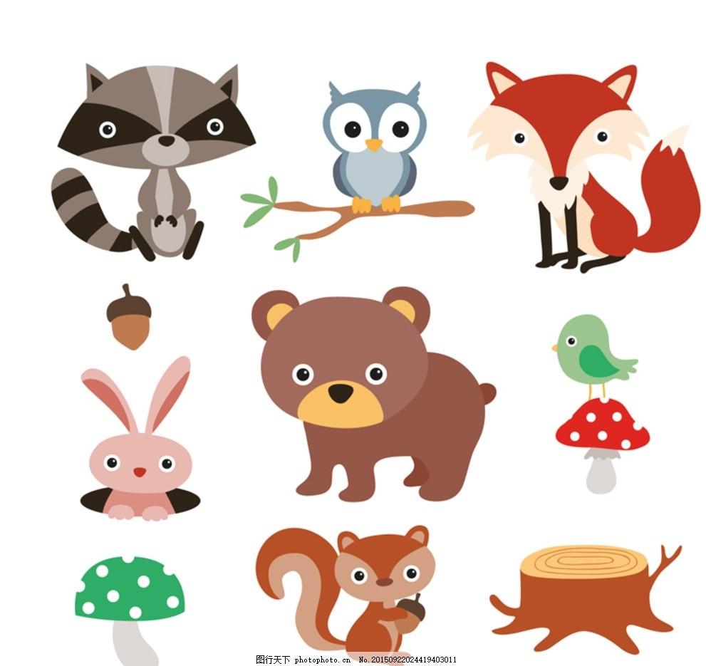 卡通森林动植物矢量素材 动物 狸猫 狐狸 猫头鹰 树枝 枝头 兔子