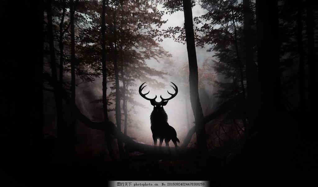 意境图 草原 麋鹿 鹿群 动物 树林 森林 小草 天空 草地 动物世界