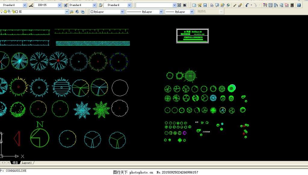 cad 树平面图例 cad 树 平面图例 灌木 乔木树种对应 指北针 设计