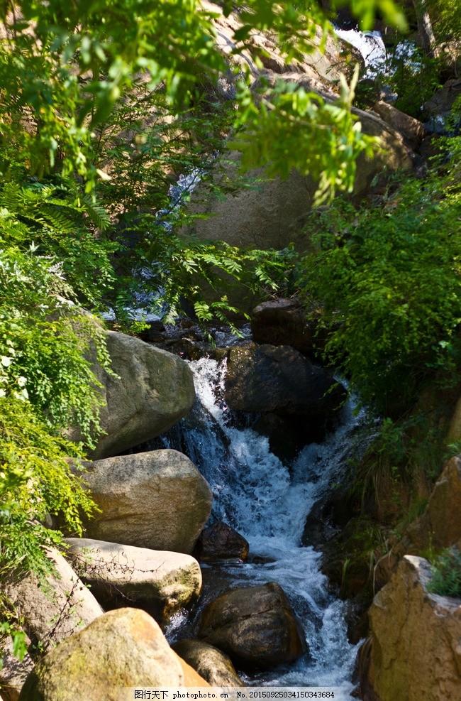 溪水 高山流水 小溪 溪流 瀑布 山涧 石头 绿树 山水风景 摄影