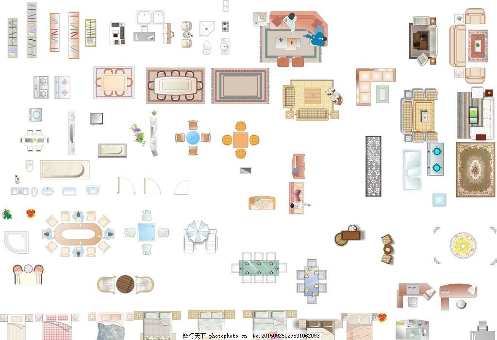 cdr家具平面图库 室内平面图 家具图 沙发图 地毯 单人床 双人床 设计