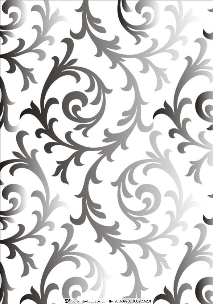 欧式花 洋花 藤蔓 墙纸 壁纸 黑白图 蚀刻图 通花 硅藻泥 对门
