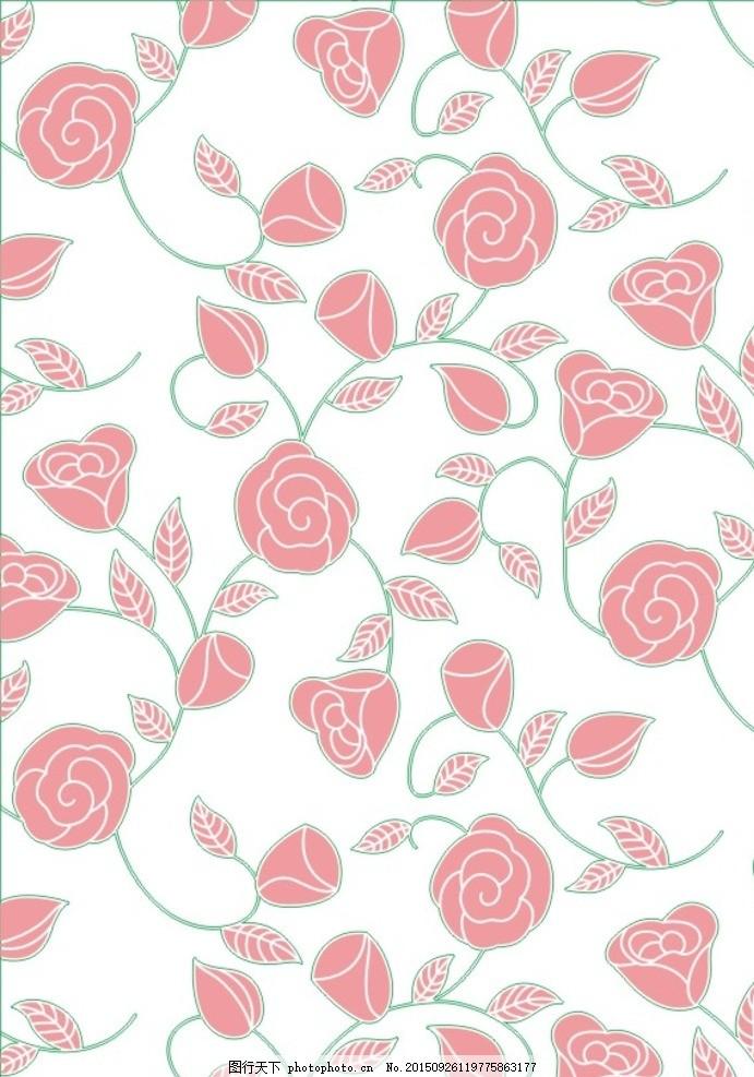 玫瑰 欧式花 洋花 藤蔓 墙纸 壁纸 黑白图 蚀刻图 通花 硅藻泥