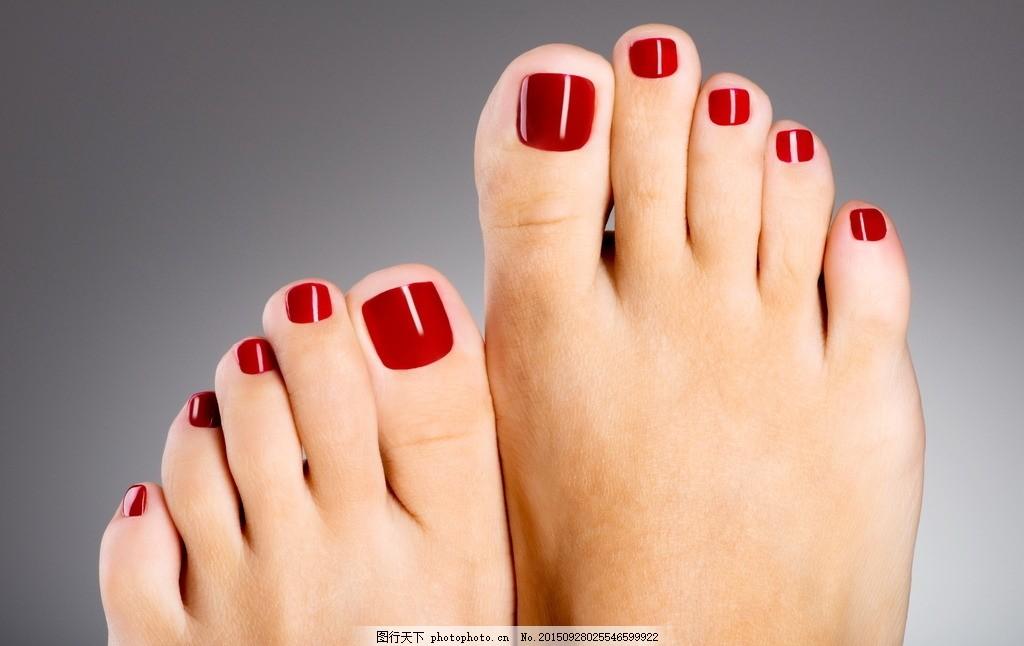 红色脚美甲 红色美甲 脚美甲 美脚 玉足 脚丫子 足部 脚部美甲 纯色