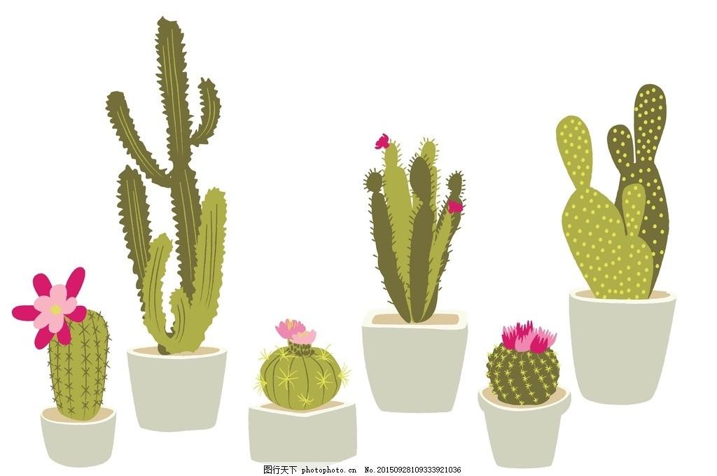 仙人掌盆栽 仙人柱 手绘 植物 可爱插图 仙人掌 花盆 仙人球 盆栽