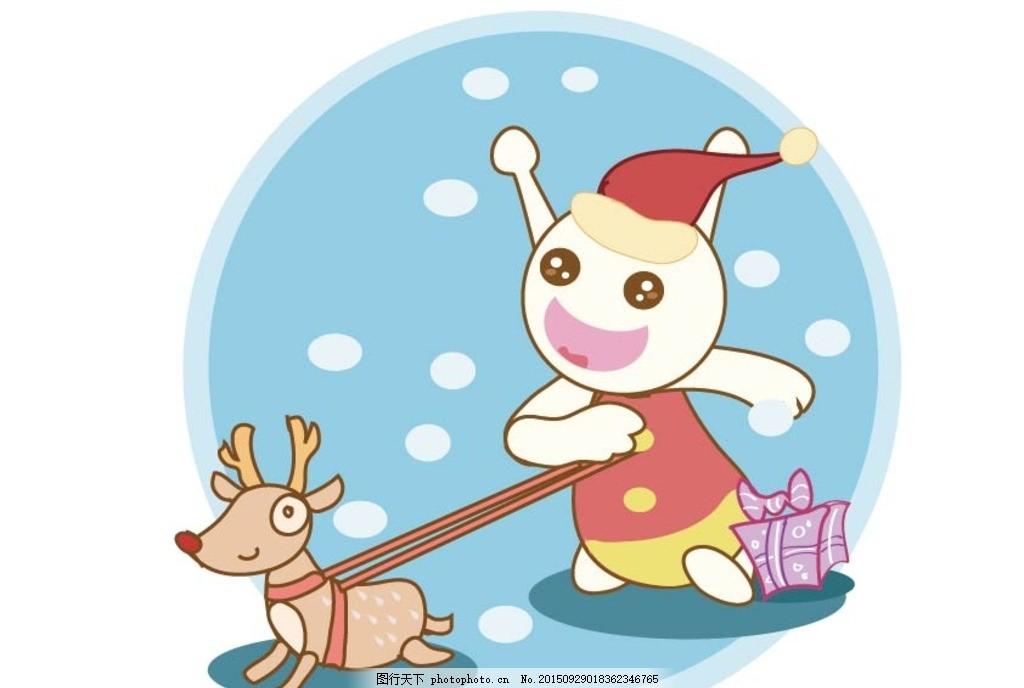 吃货星人圣诞追逐小鹿 圣诞 雪天 追逐 鹿 时尚 可爱动物 卡通壁纸