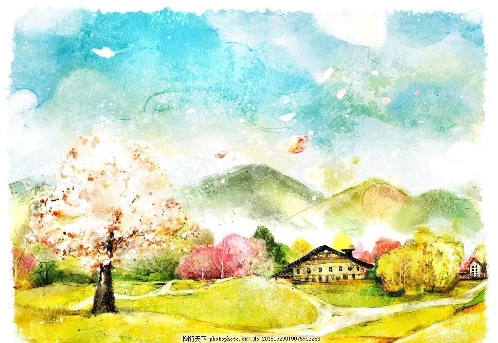 田野插图 彩色插图 艺术插图 手绘插图 书籍插图 田园 乡村 春天插图