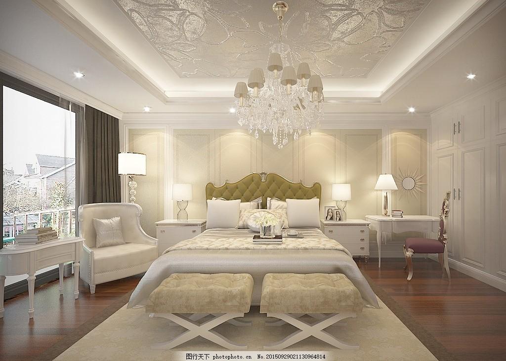 肥城玉桃园别墅 主卧室 简欧设计 现代欧式 白色调