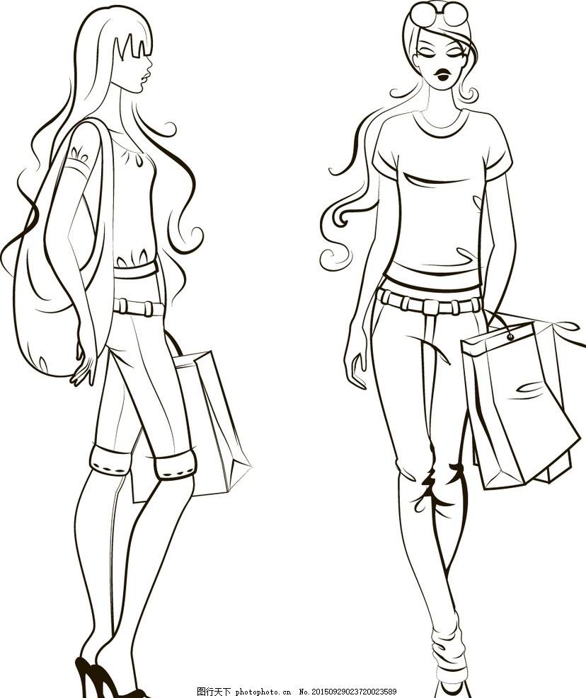 时尚少女 手绘美女 小女孩 女人 女性 服装设计 美女 模特 草图 卡通