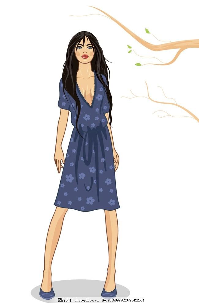时尚少女 手绘美女 小女孩 女人 女性 服装设计 模特 草图 卡通女生