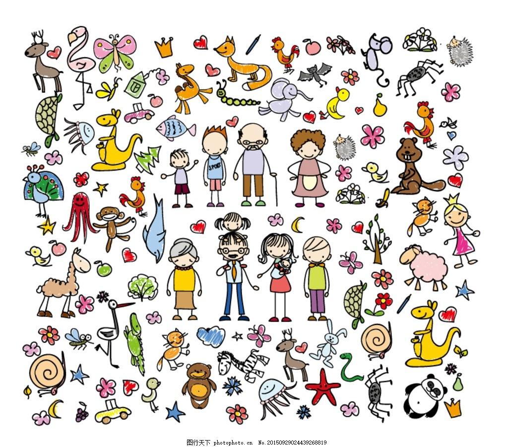手绘人物和动植物矢量图 动物 麋鹿 丹顶鹤 皇冠 狐狸 鸟鸡