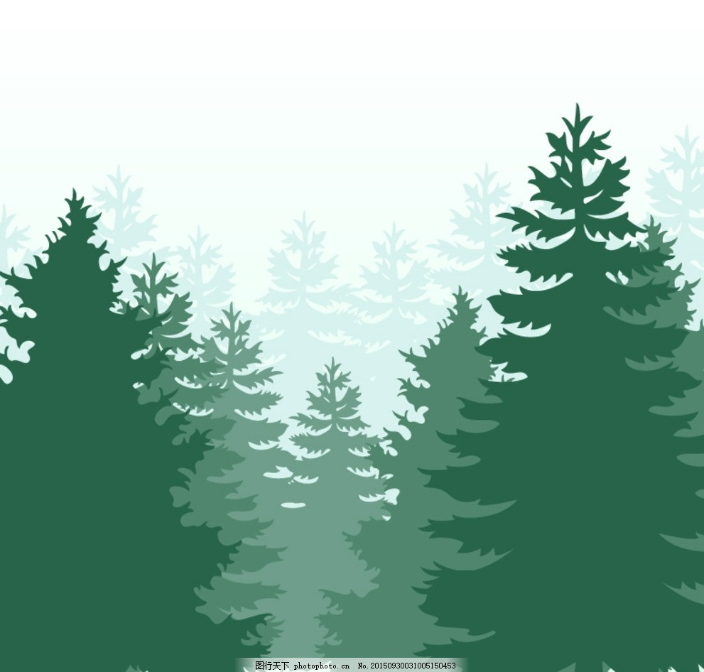 绿色森林剪影矢量 素材下载 松树 树木 矢量图