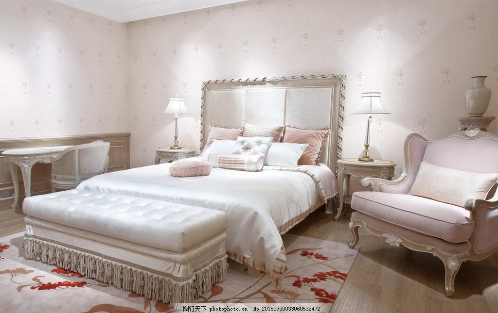 墙纸效果图 花型 欧式田园 卧室 家居 场景搭配 场景图 墙纸展示效果