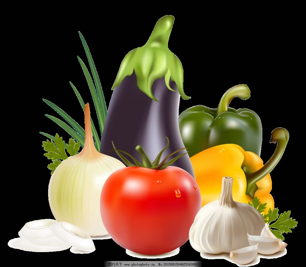 果蔬 茄子 蕃茄 大蒜 辣椒 透明果蔬圖片 生活百科 餐飲美食
