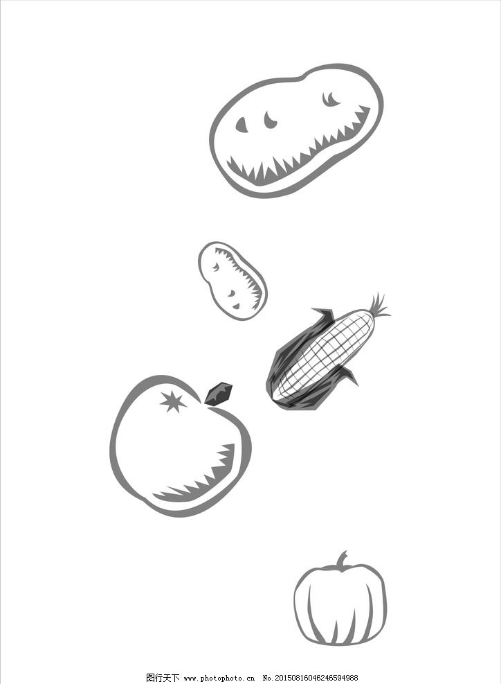 水果蔬菜 土豆 蘋果 苞米 玉米 南瓜 矢量圖 矢量水果 矢量果蔬